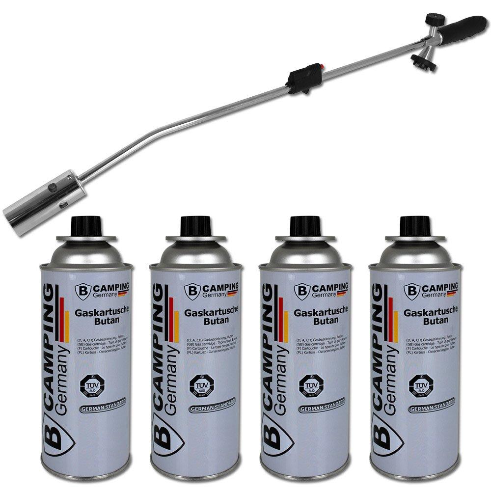 Unkrautbrenner mit 4 Gaskartuschen - Unkrautvernichter - Abflammgerät TW24