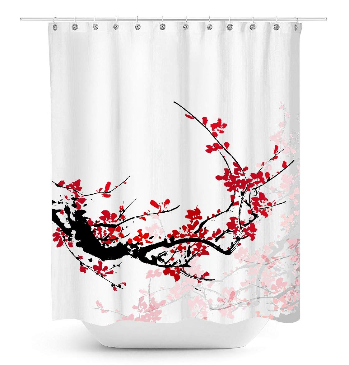 True Holiday Shower Curtain Fabric Polyester Waterproof Mildew Resistant Antibacterial Shower Curtain Liner with 12 Curtain Hooks 180cm*180cm Petal