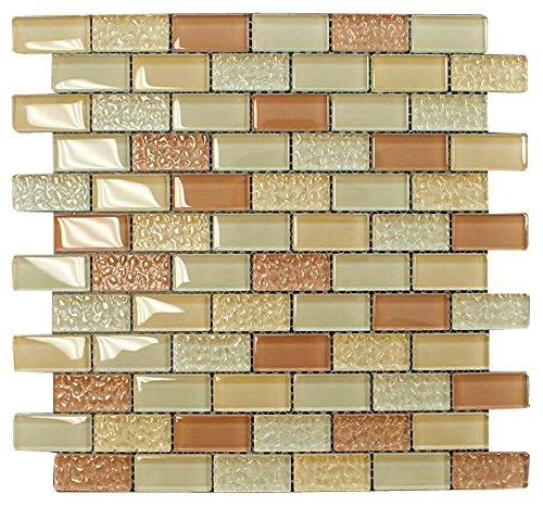 Caramel Latte Crystal Subway Glass Mosaic Tile for Bathroom and Kitchen Walls Kitchen Backsplashes By Vogue Tile ()