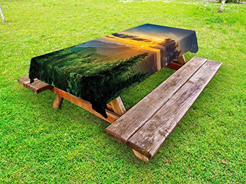 Ridge Gathering Table Set - Ambesonne Appalachian Outdoor Tablecloth, Sunset Panorama Over Fascinating Mountain Ridges and Trees Nature, Decorative Washable Picnic Table Cloth, 58
