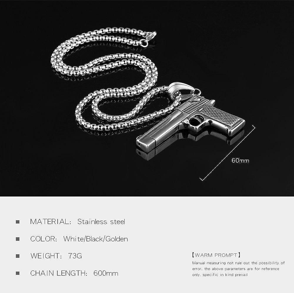 LOHOME Fashion Hip Hop Necklaces Titanium Steel Pistols Charm Pendant Necklace for Mens
