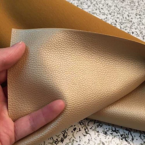 Thin Lychee Skin Embossed Fake Leather Fabric for Home Decor Furniture Upholstery Application,soft Leather Upholstery Fabric,bags/wallets Leather Fabric,wide 54'' Sold By Half Yard (Champagne Gold)