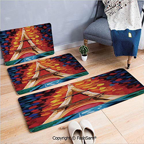 FashSam 3 Piece Non Slip Flannel Door Mat Eiffel Tower Paris France Romantic Night with Colorful Lights Oil Painting Indoor Carpet for Bath Kitchen(W15.7xL23.6 by W19.6xL31.5 by W19.6xL59)