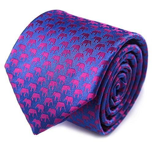 Qobod classic ties mens silk neckties gift boxes blue pink elephant - Elephant Necktie
