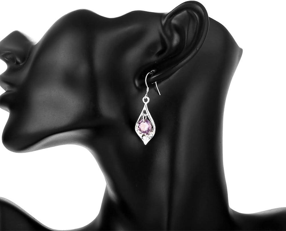 Boucles doreilles pour femme en argent en forme de goutte deau /él/égantes boucles doreilles anniversaire de mode avec cadeau Saint Valentin original
