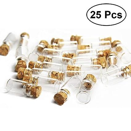 ROSENICE Claro Mini Frascos de vidrio con tapones de corcho Botellas de deseos para bodas de