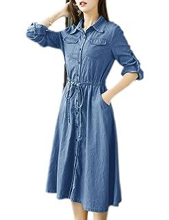 acf667f770d Pinkyee Distressed Rivet Denim Long Shirt Dress Leather Belt Light Blue
