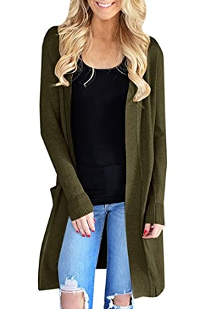 52f39c19a1acf2 Sherrylily Womens Open Front Long Cardigans Long Sleeve Solid Color Pocket  Sweater Coats Army Green Small