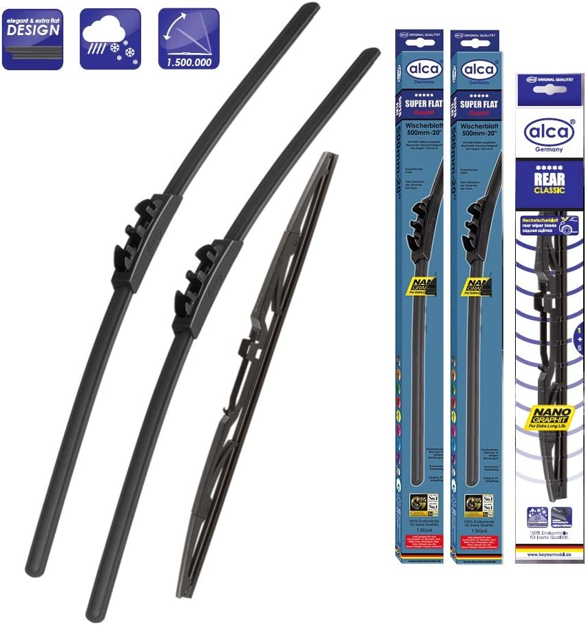 Sportage 2010-2015 Set of 3 Windscreen Wiper Blades alca Germany Super Flat Front Rear 241812 ASF2418H12ARC