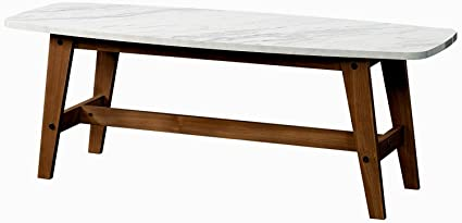 Exceptionnel Faux Marble Coffee Table Wooden Curved Legs Large Open Modern Minimal  Coffee Table Living Room Centerpiece