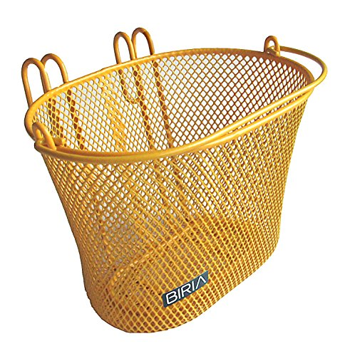 Biria Basket with hooks Yellow/Orange, Front, Removable, wire mesh SMALL kids Bicycle basket, Yellow/Orange by
