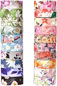 Molshine Set of 20 Rolls Washi Masking Tape,Adhesive Paper, Crafts Tape for DIY,Planners,Bullet Diary Decorative,Gift Wrapping,Scrapbook,Office,Party Supplies,Collection