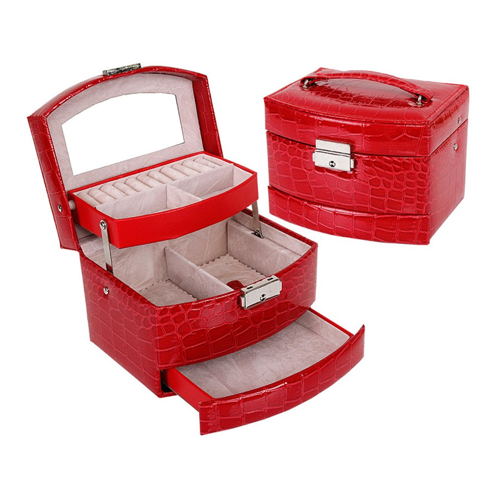 Frcolor Cosmetic Makeup Bag PU Leather Crocodile Pattern 3-Tier Mirror Jewelry Box Organizer Red by Frcolor (Image #3)