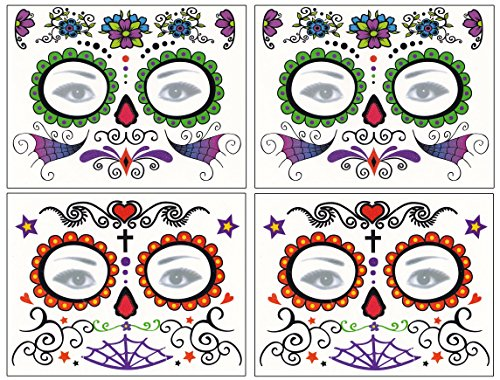 DaLin Floral Day of the Dead Sugar Skull Temporary Face Tattoo Kit for Halloween - Pack of 4 -