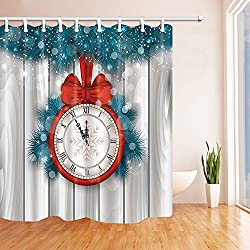ChuaMi Polyester Fabric 69 x 70 Inches Shower Curtain Mildew Resistant Waterproof Bathroom Decoration Curtains with Hooks (Christmas Red Clock with Bow)