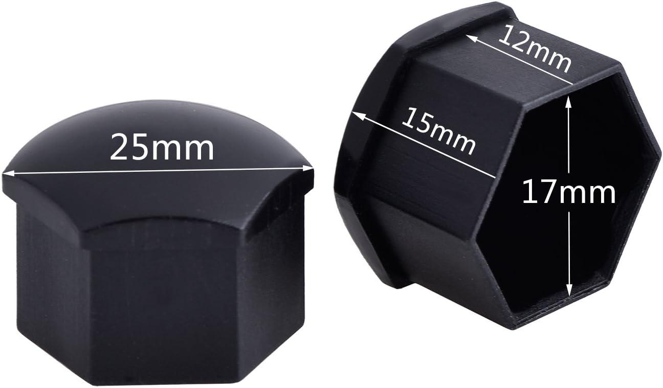 Bememo 20 Stücke Rad Mutter Cap Universal Reifen Mutter Covers Mit Entfernung Werkzeug Für Autos Schwarz 17 Mm Auto