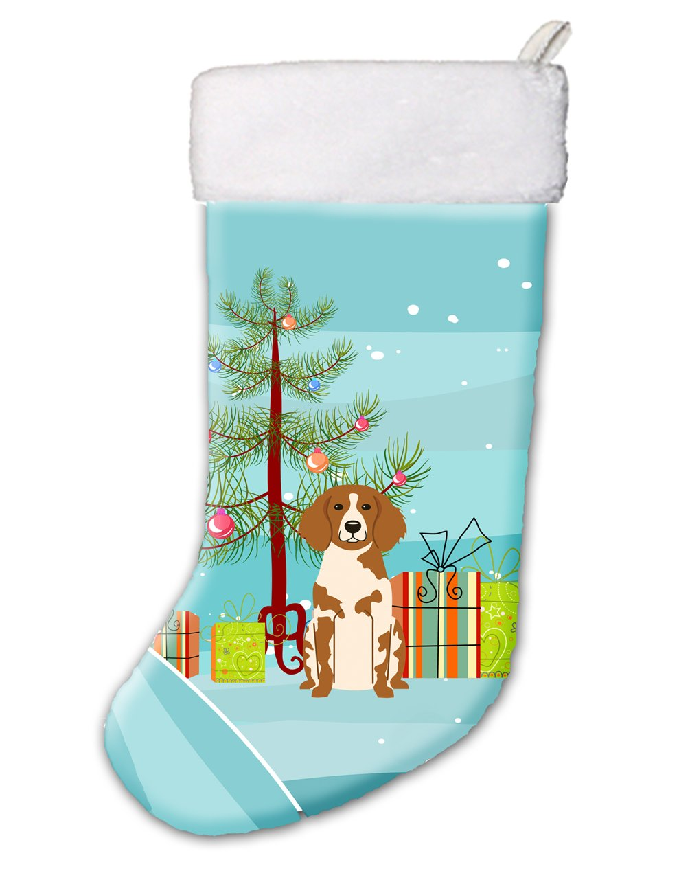 Caroline's Treasures Merry Christmas Tree Brittany Spaniel Stocking, Large, Multicolor by Caroline's Treasures (Image #1)