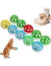 Demiawaking 10 stücke Kunststoff Aushöhlen Runde Haustier Katze Bunte Ball Spielzeug Mit Kleine Glocke