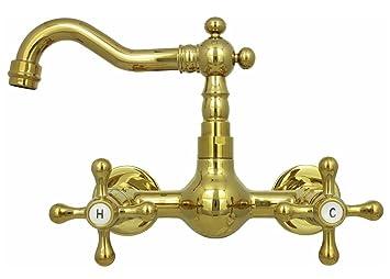 Retro Zweigriff Wandarmatur Kche Waschbecken Waschtisch Nostalgie Wand  Wasserhahn Hochdruck Badarmatur Gold Nostalgie.