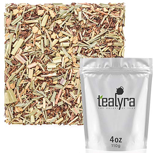 Tealyra - French Lemon Ginger - Rooibos - Honeybush - Lemongrass - Red Bush Herbal Loose Leaf Tea Blend - All Natural Ingredients - High Antioxidants - Caffeine-Free - 110g (4-ounce) (Lemon Loose Leaf Tea)