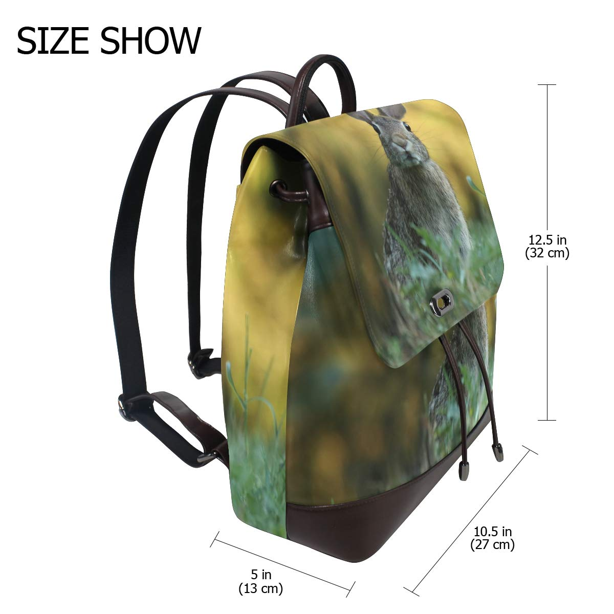 PU Leather Shoulder Bag,Rabbit On Grass Backpack,Portable Travel School Rucksack,Satchel with Top Handle