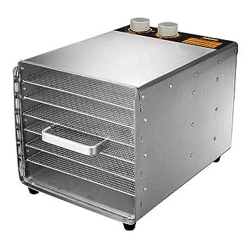 Deshidratador digital de alimentos, control de temperatura ajustable y temporizador, 6 bandejas apilables de