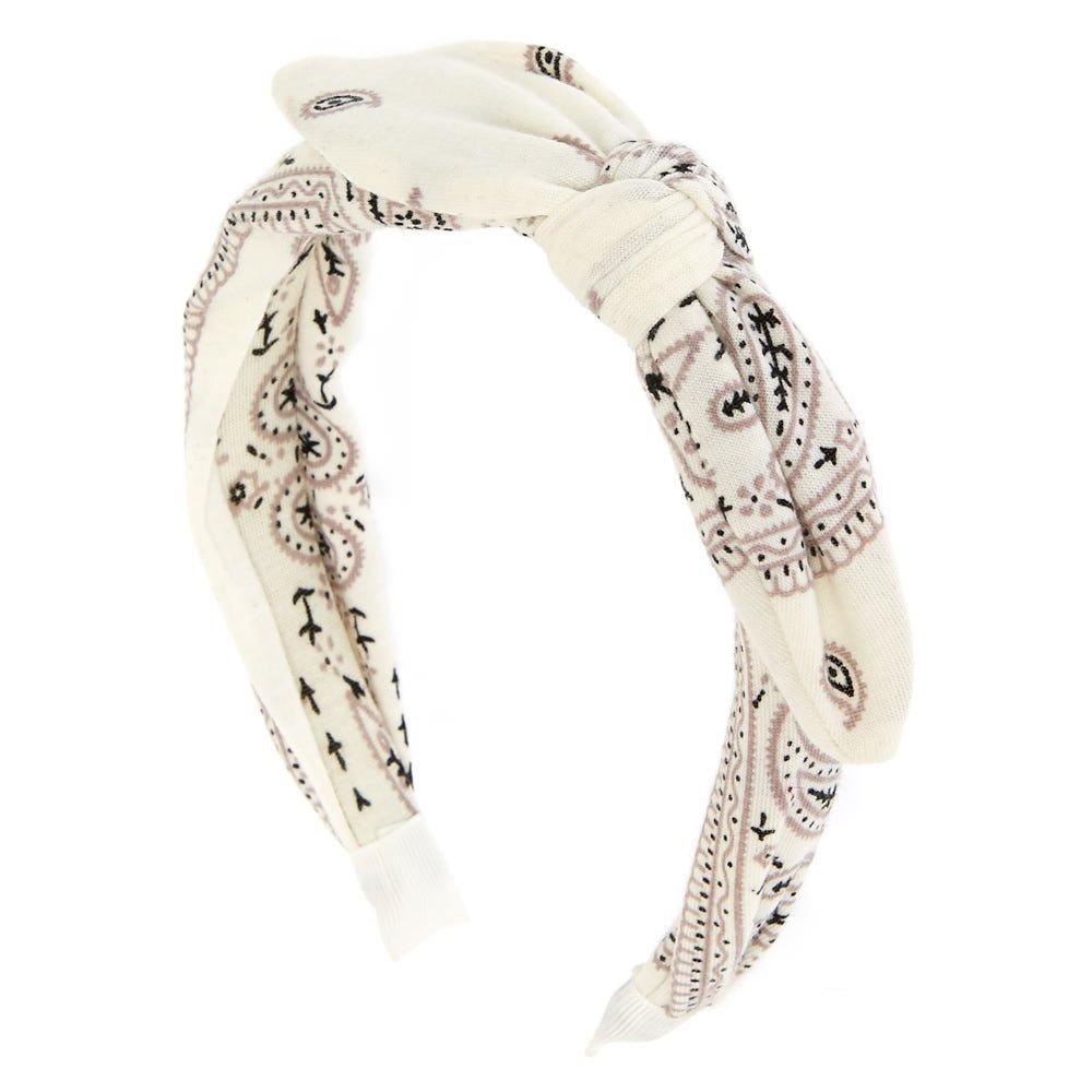 Claires Girls White Bandana Print Knotted Bow Headband