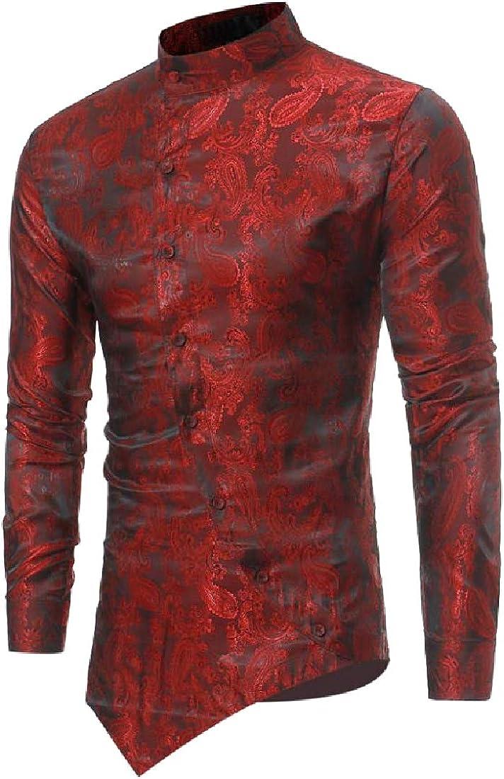 SportsX Mens Slim Casual Irregular Bright Color Long Sleeve Top Shirt