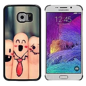 TECHCASE**Cubierta de la caja de protección la piel dura para el ** Samsung Galaxy S6 EDGE SM-G925 ** Fingers Faces Funny Drawing Smiley Tie Art