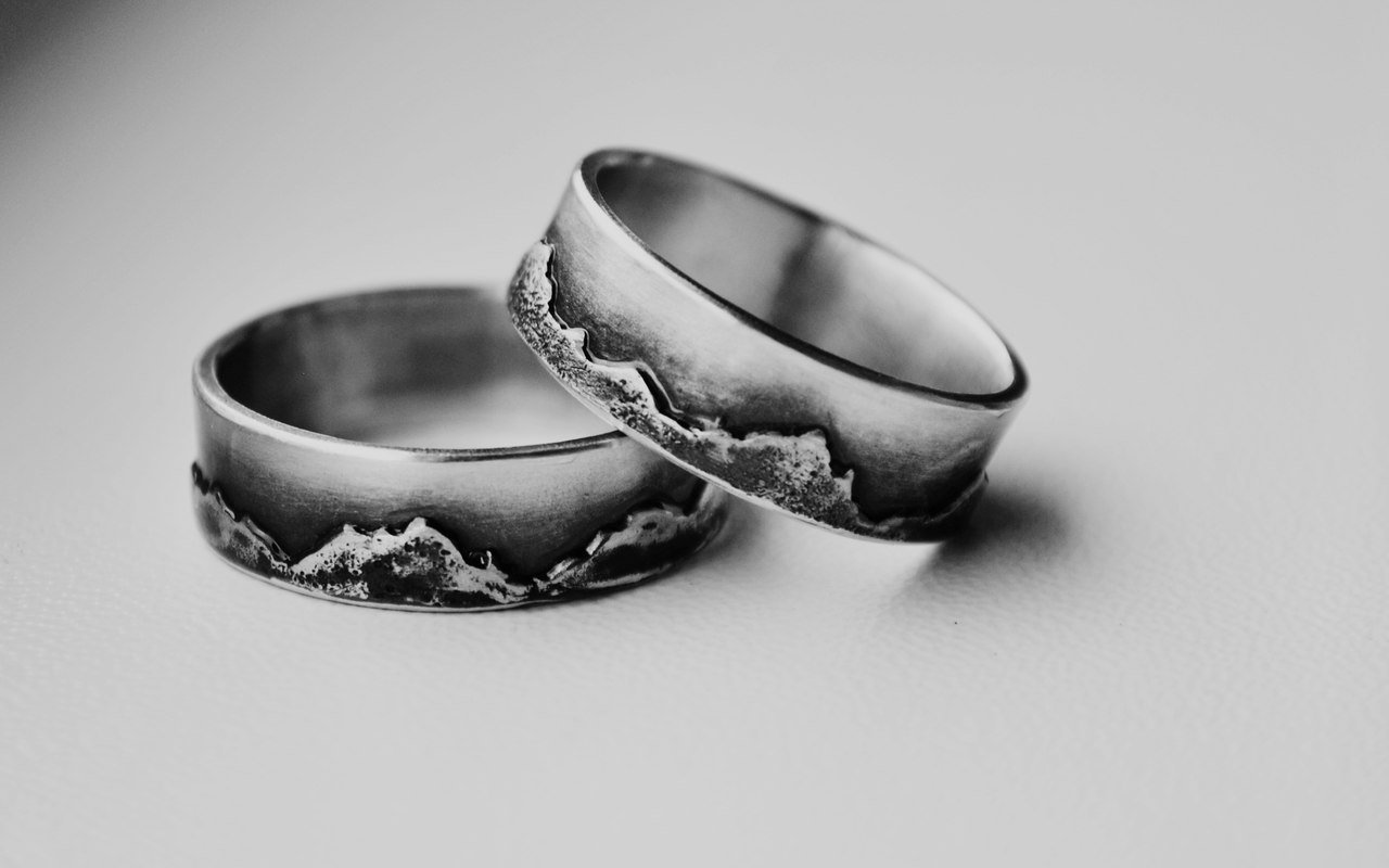 Wedding Rings Set For Him And Her Handmade Sterling Silver Mountain Rings for Couple Wedding Bands Price for 2 PCS!