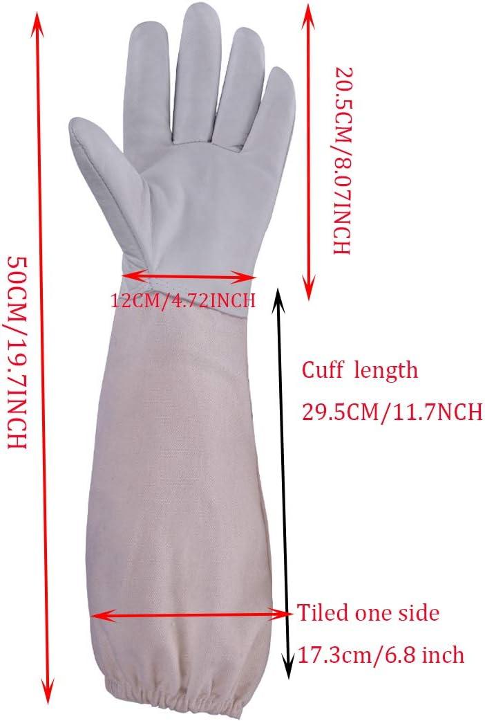 HunterBee Guantes de protecci/ón para Apicultor de Abejas y Apicultura de Piel de Cabra con ventilaci/ón de Manga Larga