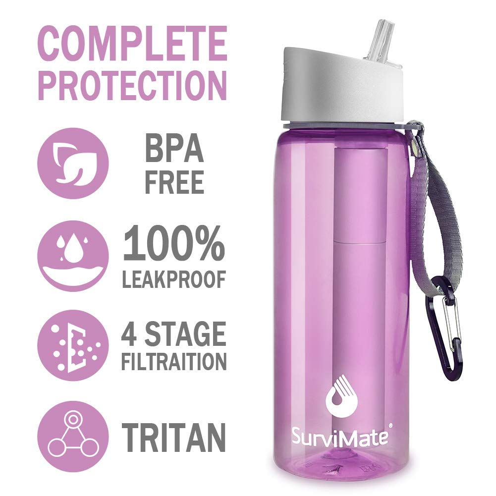 SurviMate Filtered Water Bottle for Camping, Hiking, Backpacking and Travel, BPA Free with 4-Stage Intergrated Filter Straw (Pink) by SurviMate