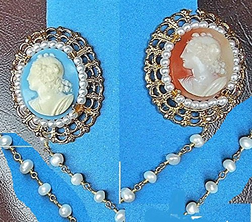 Beautiful Sweater Clips, Collar Brooch, of Genuine Fresh Water Pearls & 2 Faux Cameos Sweater Clip on Fresh Water Pearl Chain. One of a Kind! - Chain Brooch Cameo