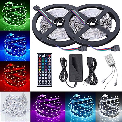 Price comparison product image FSJEE 5050 RGB LED Strip Light Kit, 32.8ft 300 LEDs Rope Lights 30LEDs / M Non-Waterproof Flexible Strip Light Kit with 44key IR Remote Controller DC12V Power Supply for Kitchen / Bedroom / Sitting Room