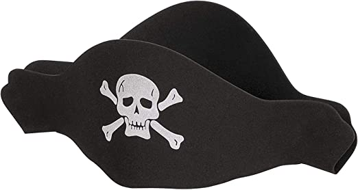 Childens Fancy Dress Pirate Eva Hat Black with skull and crossbones