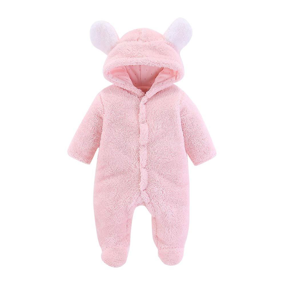 Leoie Newborn Baby Warm Jumpsuit Unisex Cute Bear Ears Romper Long Sleeve Outfit
