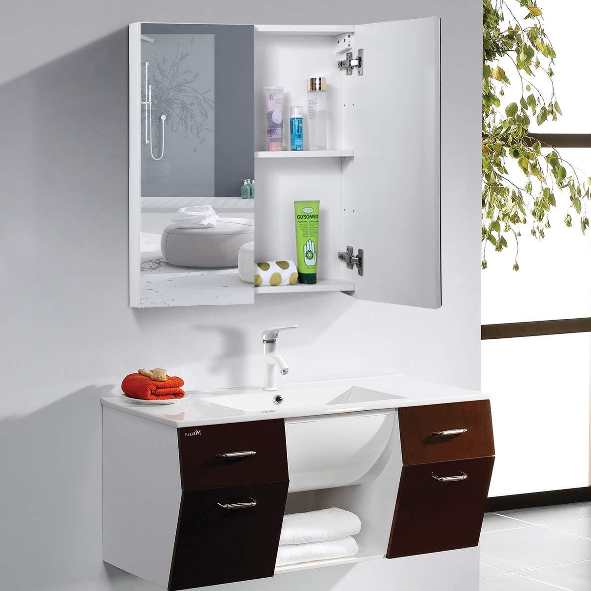 COSTWAY Spiegelschrank Badezimmer Badezimmerspiegelschrank