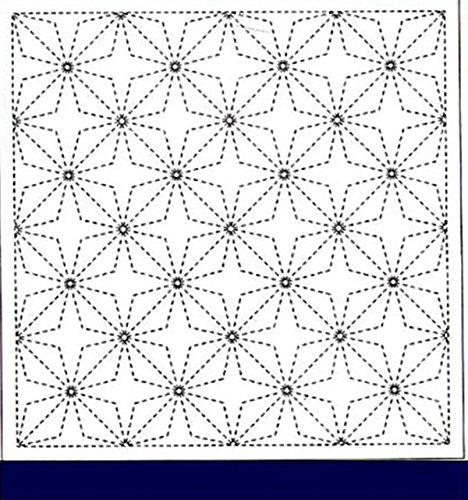 (Sashiko Fabric - Pre-printed Sashiko Sampler - Cool Water Surface - # 255 NAVY)