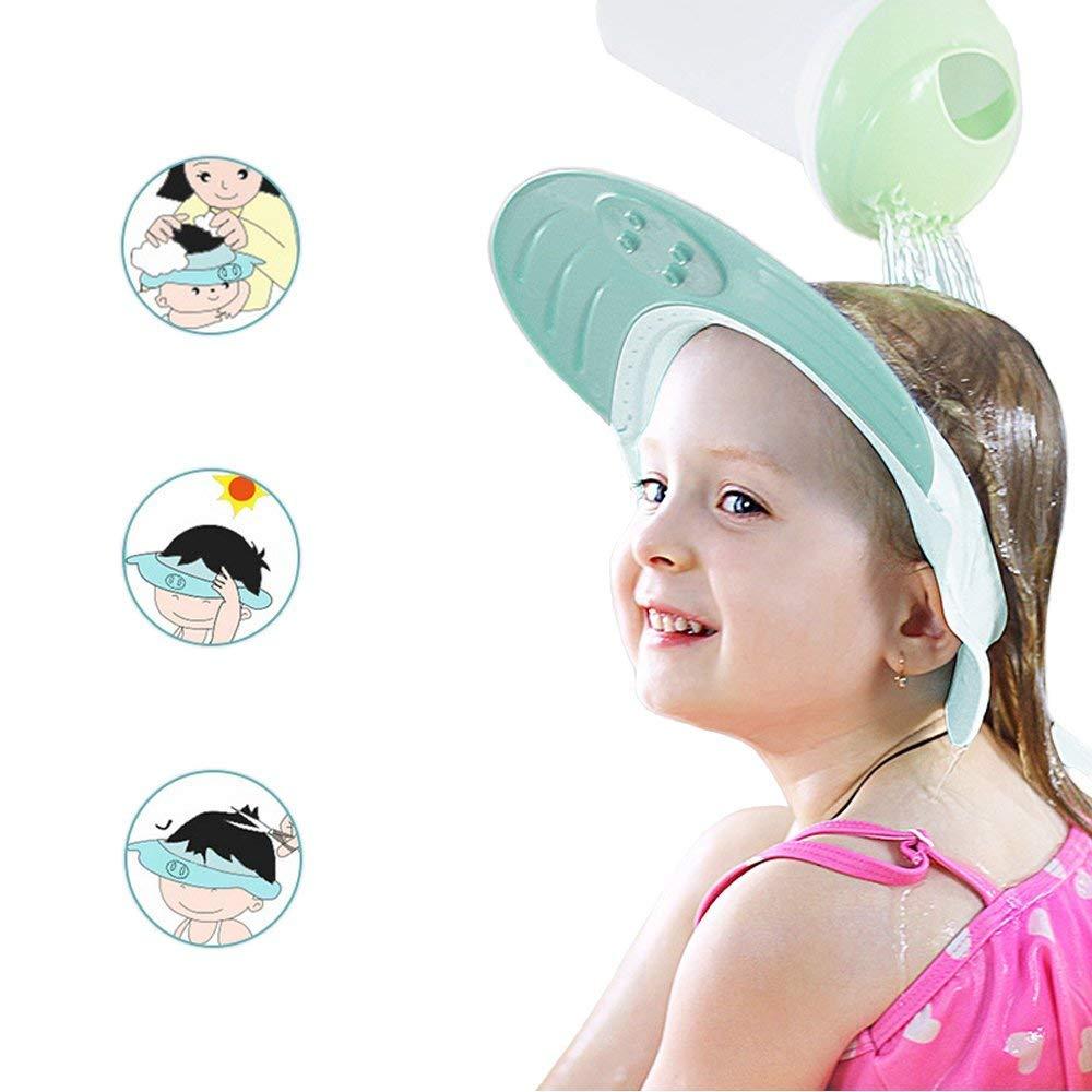 Yarachel Kids Baby Shower Cap - Adjustable Leak Proof Silicone Bath Wash Hair Shield Hat Soft Comfortable Baby Shampoo Cap - Baby Mate (Sapphire Blue) Keklle YCS38