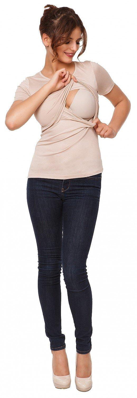 991p Rundhalsausschnitt Damen Umstands Still T-Shirt Lagendesign Happy Mama