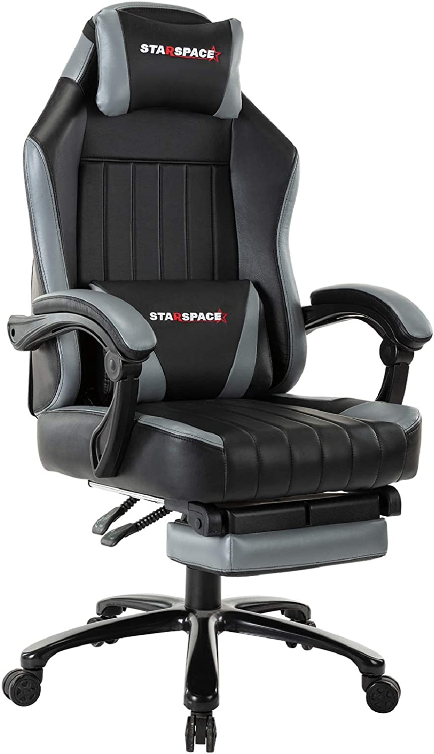 STARSPACE Big & Tall 350lb Gaming Chair Massage- Retractable Footrest Metal Base High Back Reclining Racing Executive Computer Desk Office Chair Adjustable Back Angle (Grey)