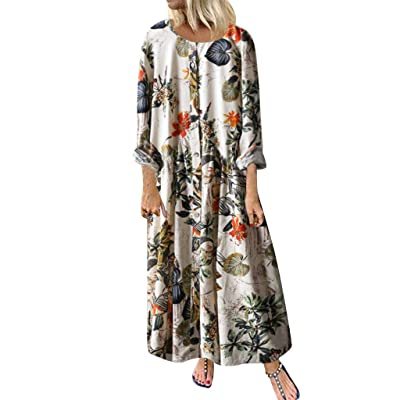 2019 Nuevo! Vestidos Mujer Casual Vestido De Verano Largo Maxi Falda Mujer Cuello En V Estampado De Sin Mangas Fiesta Mujer Boho Playa Sundress,Fashion Vestidos Mujer Casual: Ropa y accesorios