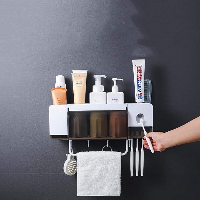 Ba30DEllylelly Soporte para cepillo de dientes ABS Organizador de cepillo de dientes universal montado en la pared con dispensador autom/ático de pasta de dientes