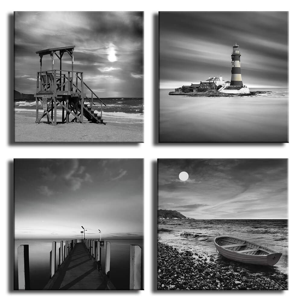 Beach wall art for bedroom black and white modern seascape lighthouse boardwalk boat sunrise scenery wall picture canvas prints 4 panels set bathroom