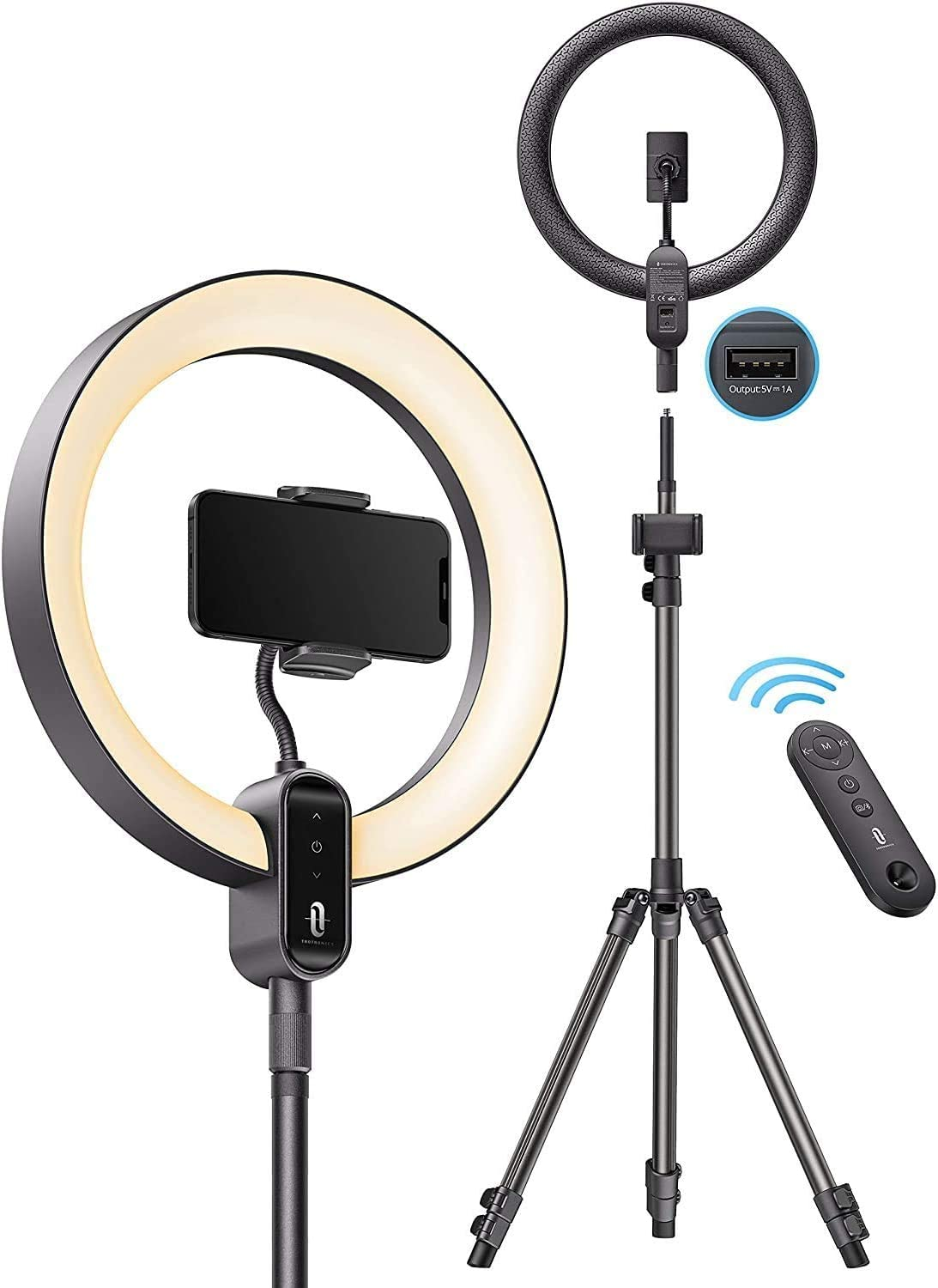 TaoTronics Ring Light CL025, 12'' Ring Light with 78'' Tripod Stand, Dimmable LED Light Outer 24W 6500K, USB Charging Port, Carrying Bag, Light Remote Control for Zoom Call Meeting Live Stream Video