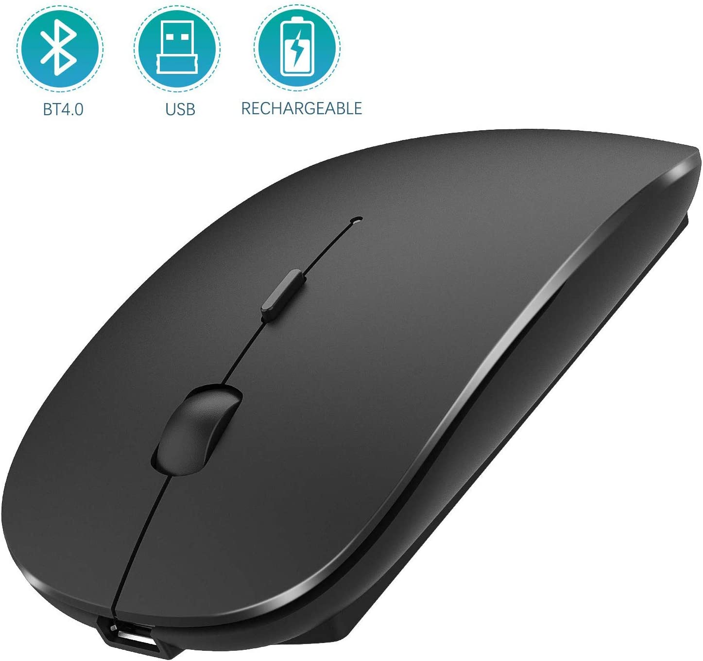 Bluetooth Wireless Mouse, Dual Mode Slim Rechargeable Wireless Mouse Silent Cordless Mouse with Bluetooth 4.0 and 2.4G Wireless, Compatible with Laptop, PC, Windows Mac Android OS Tablet (Black)