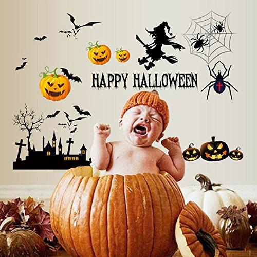 (DIY Creative Kids Halloween Horror Wall Sticker Detachable Cute Wall Decal Children's Room Living Room Bedroom Halloween Decoration Pumpkin)