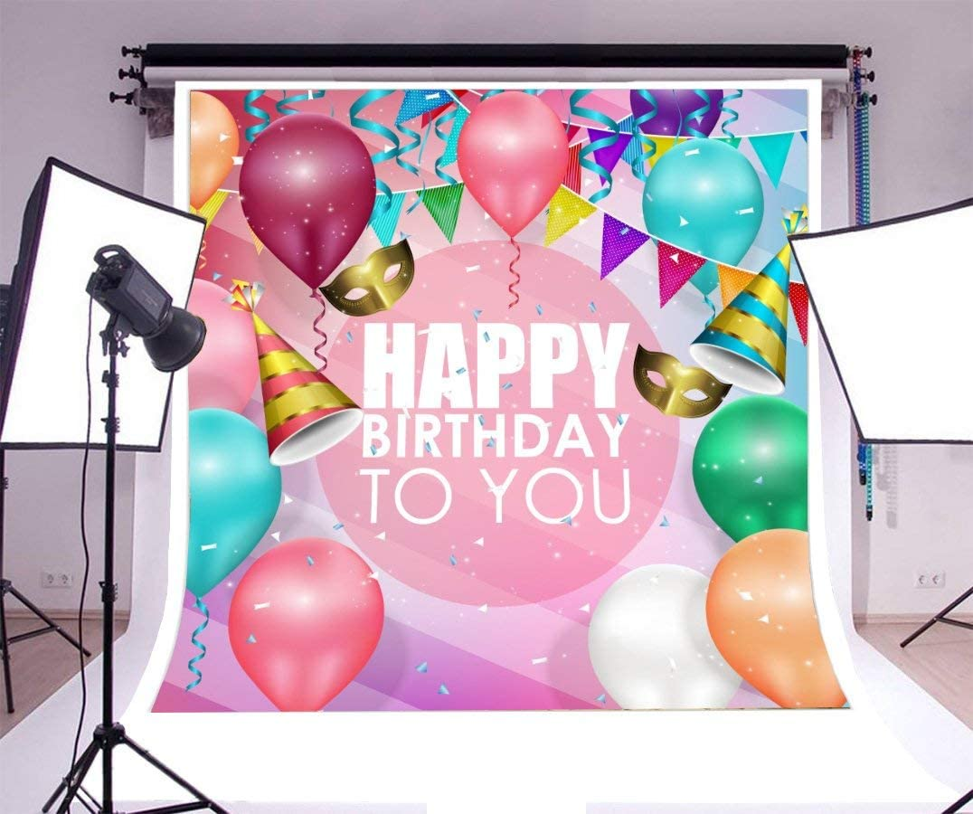 GoEoo 5x5ft Happy Birthday Background Colorful Balloons Ribbon Confetti Photography Background Pennant Banner Baby Child Adult Girl Boy Bday Party Cracker Decoration Photo Booth Studio Vinyl Props