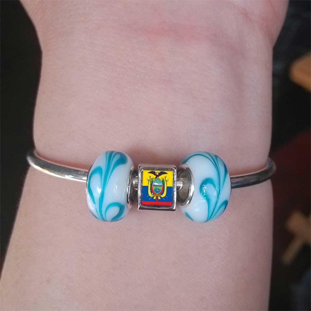 GiftJewelryShop Silver Plated Ecuador Flag Photo Double Heart Charm Beads Bracelets European Bracelets