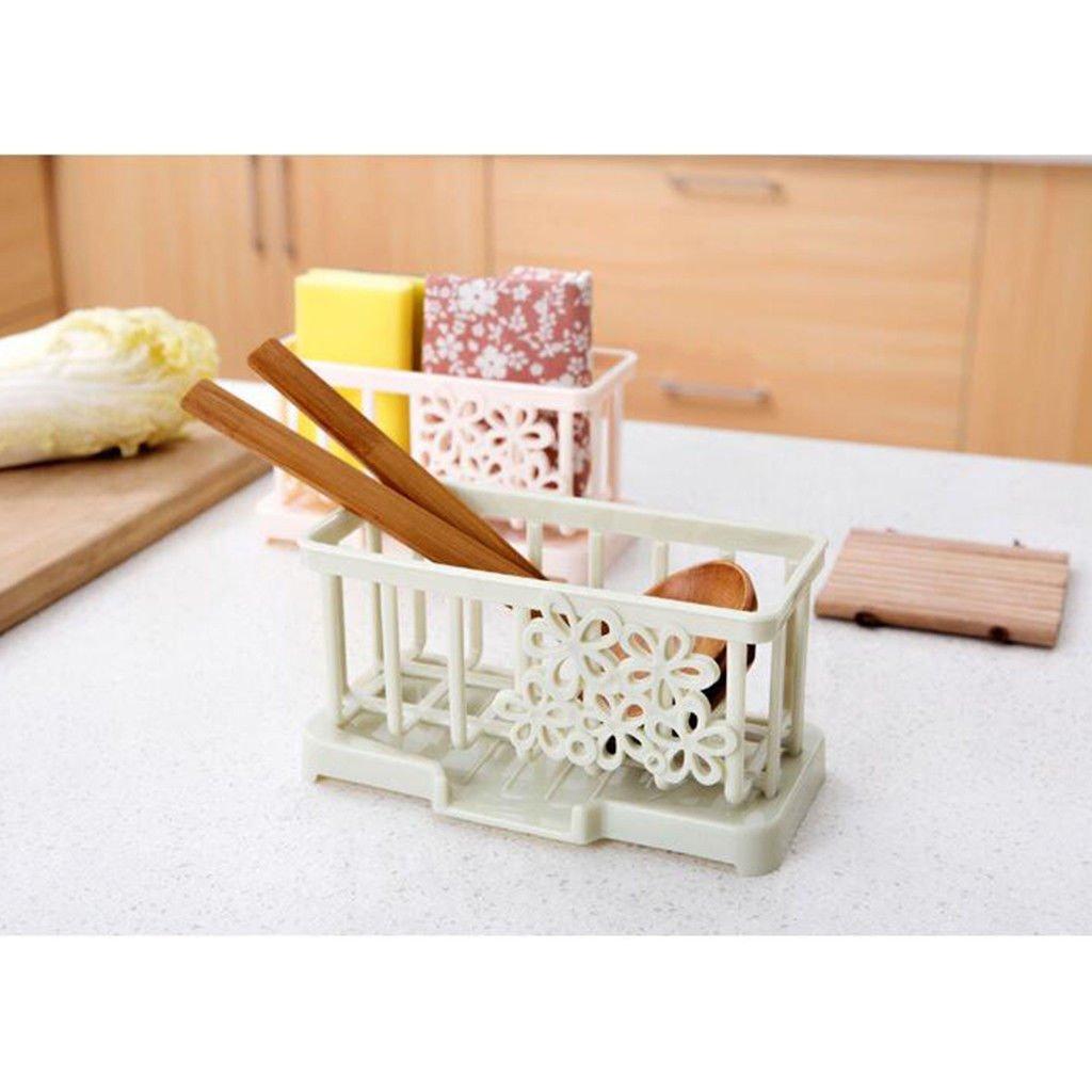 2pcs Tray Holder Dish Drainer Storage Rack Sink Kitchen Tool,PinkCream by Agordo